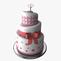 3d model stylized wedding cake