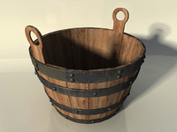 3ds max wooden bucket