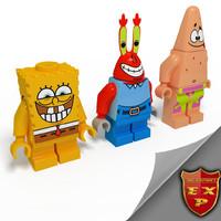 Lego Man Sponge Bob  with friends