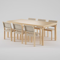 artek chair 611 table 3d max