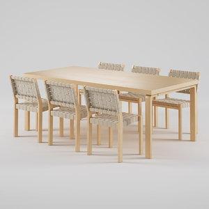 artek chair 611 table 3d max