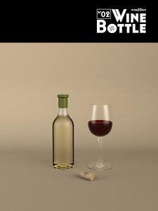 3d model of bottle 02 wine