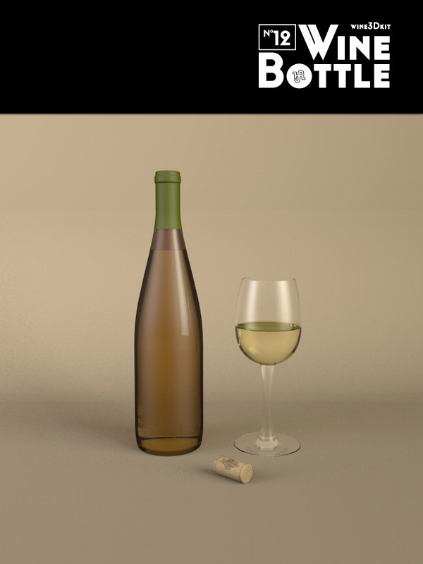 3d bottle 12 wine