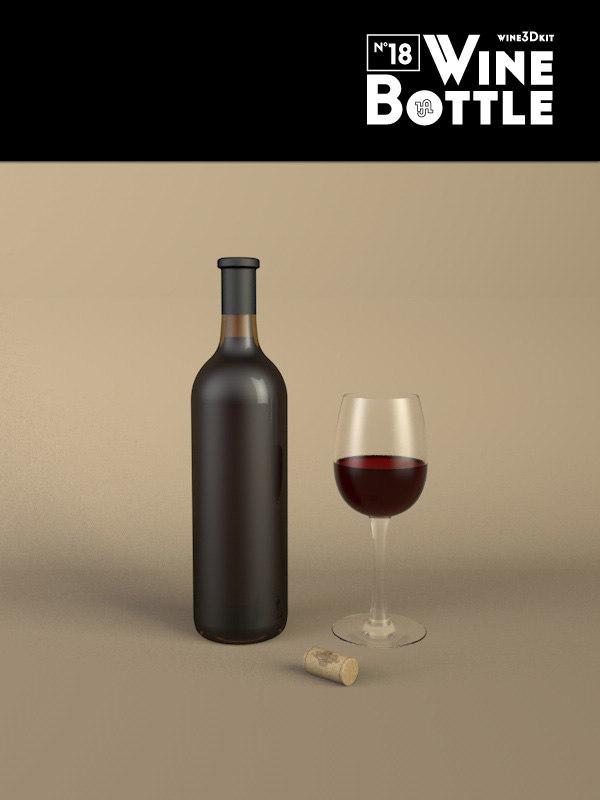 3d bottle 18 wine