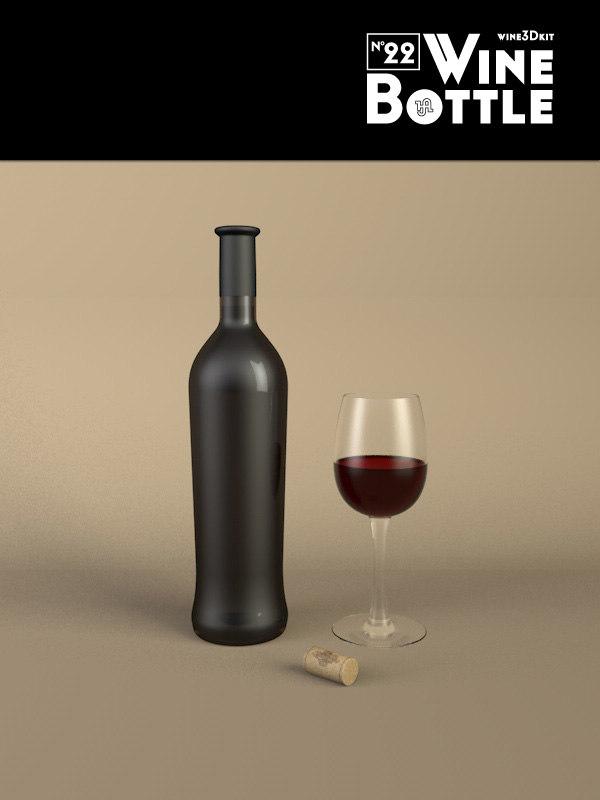 3d 3ds bottle 22 wine