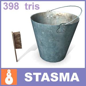 3d model brush pail