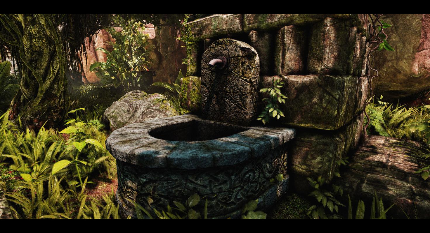 old fountain 3d obj