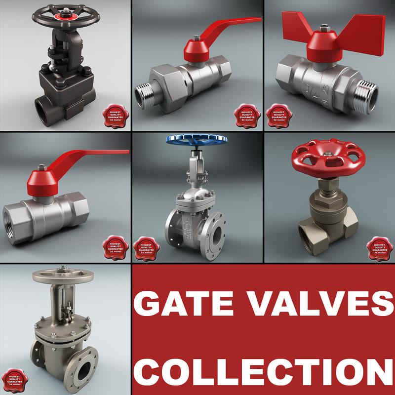 gate valves v3 3d 3ds