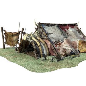 3d model orc hunter fantasy house
