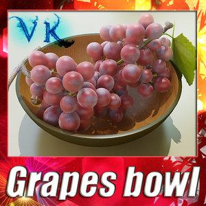 fruit basket red grapes 3d model