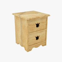 3d model vintage bedside cabinet