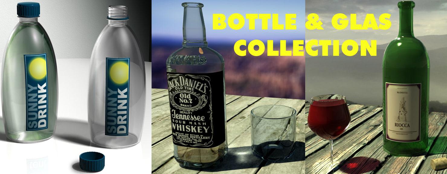 3d model wine bottle glas