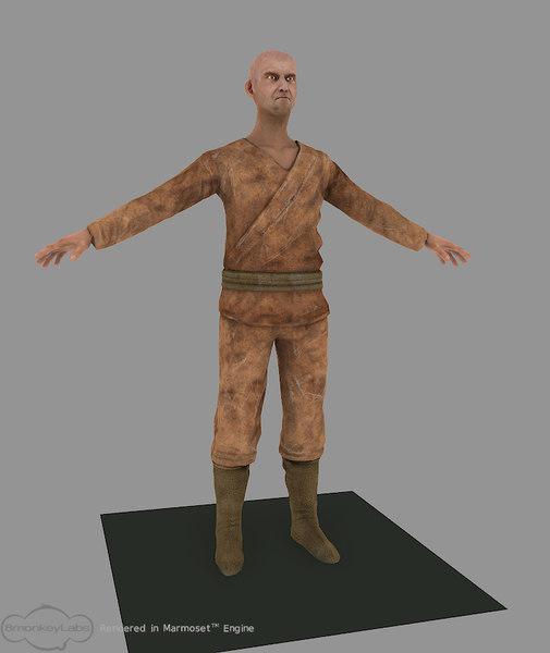3d realtime tribal hunter model