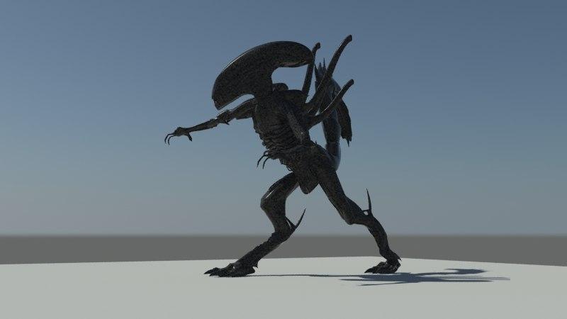 3d model of alien creature rig