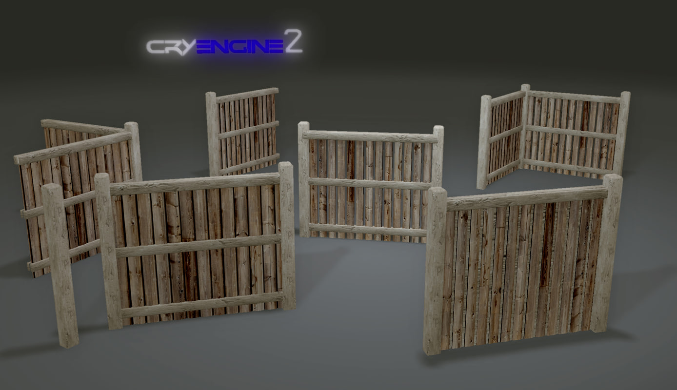 Free pack fences plank modular 3d model for 3d fence