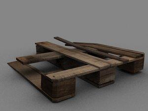 broken wooden pallet 3d 3ds