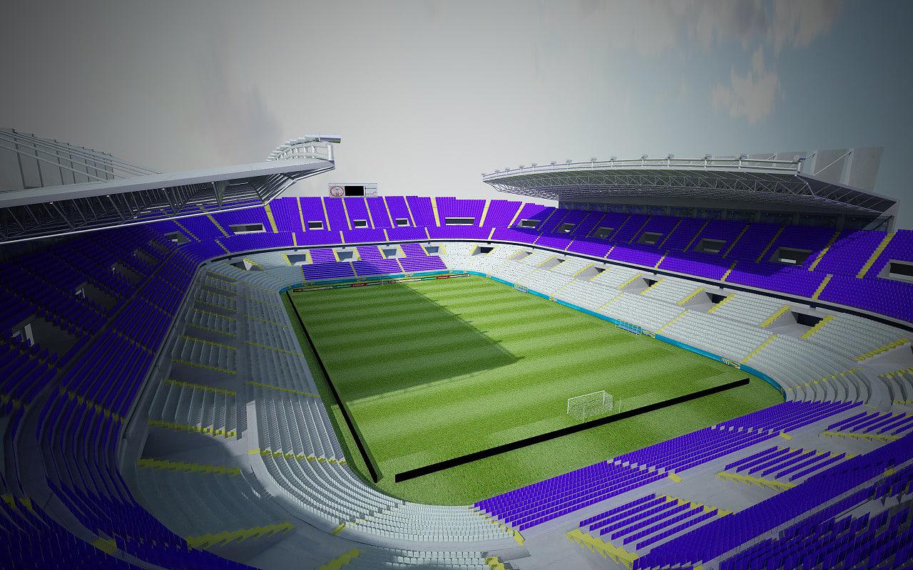 3d model stadium soccer la rosaleda