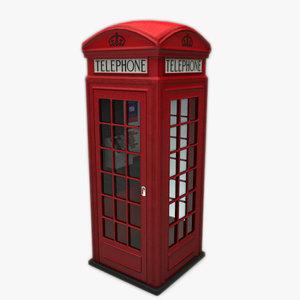 k2 telephone box 3d max