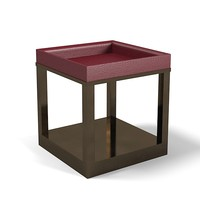 Promemoria Scarlett Side Table Night Stand Leather Bronze Modern Contemporary