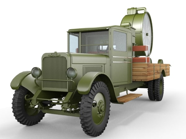 3d zis-12 searchlight truck model