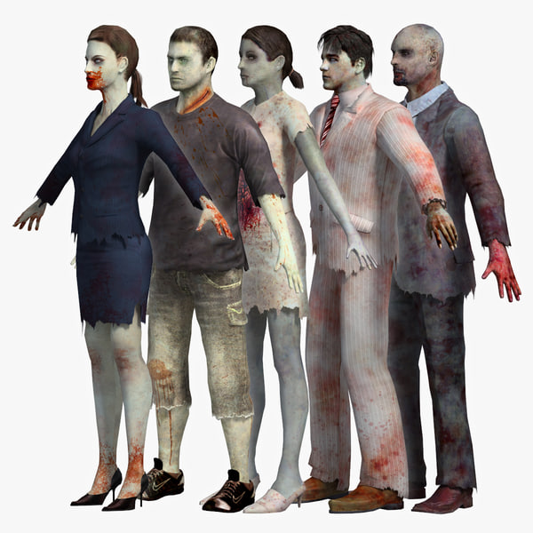 3d model zombies pack 1