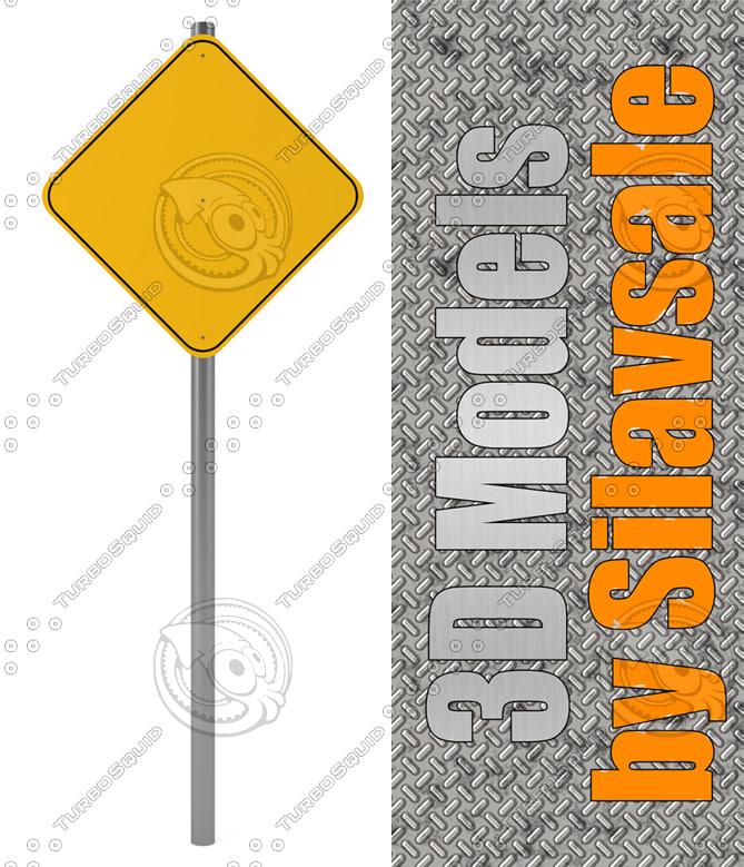 3d model orange traffic sign
