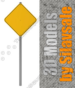 3d model orange traffic sign