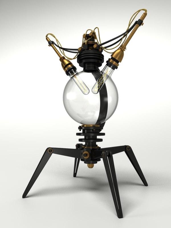 3d steampunk lamp interior