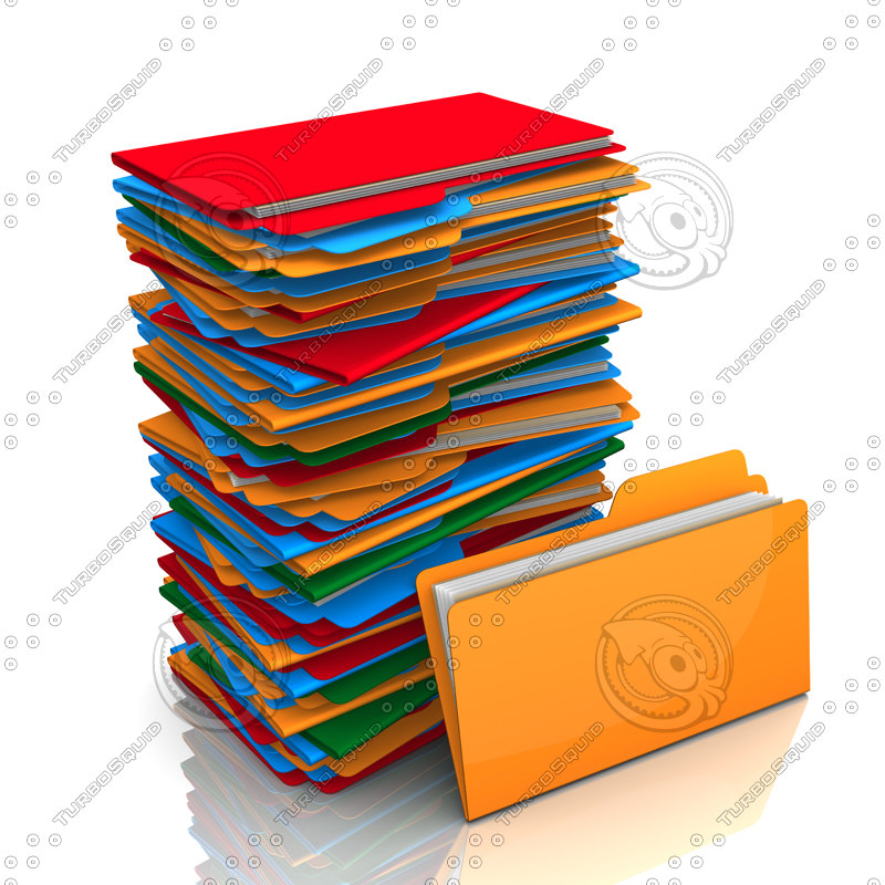 stack folders 3d model