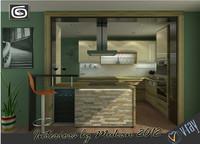 3d model contemporary kitchen scene