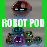 robotic pod red 3d 3ds