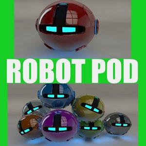 robotic pod red 3d 3ds