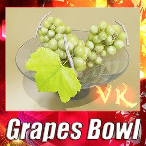 fruit basket green grapes 3d model