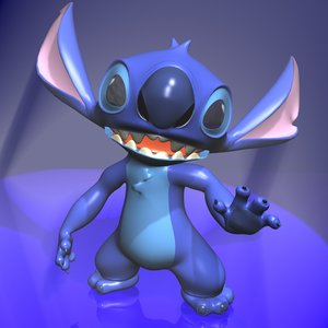 stitch character toon rigged 3d max
