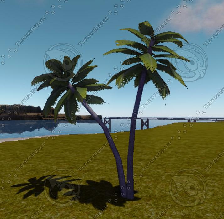 3d model twin palmtree