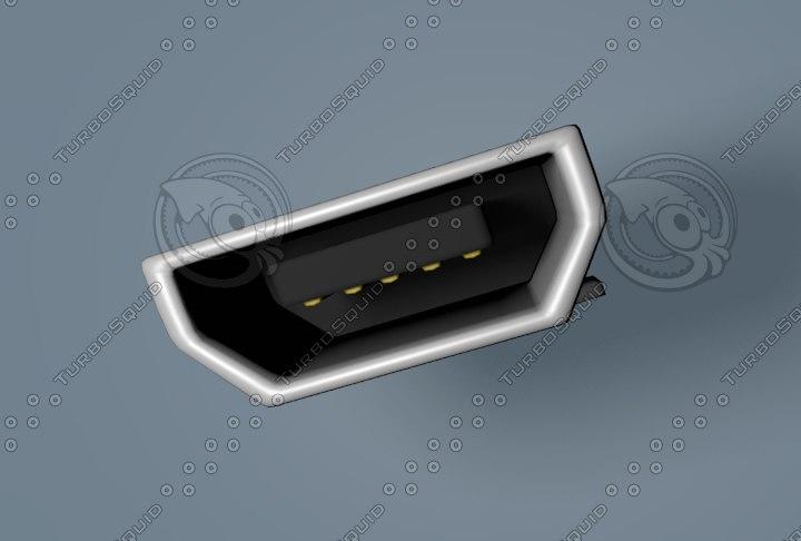 3d micro-usb jack electronic model