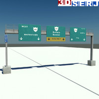overhead gantry sign 3d model