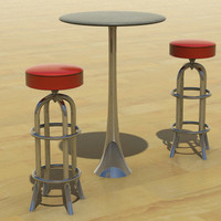 free obj model chrome bar stool table