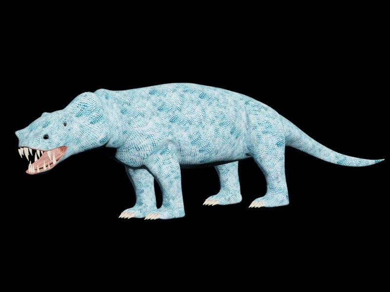 deuterosaurus dinosaur reptile 3d model