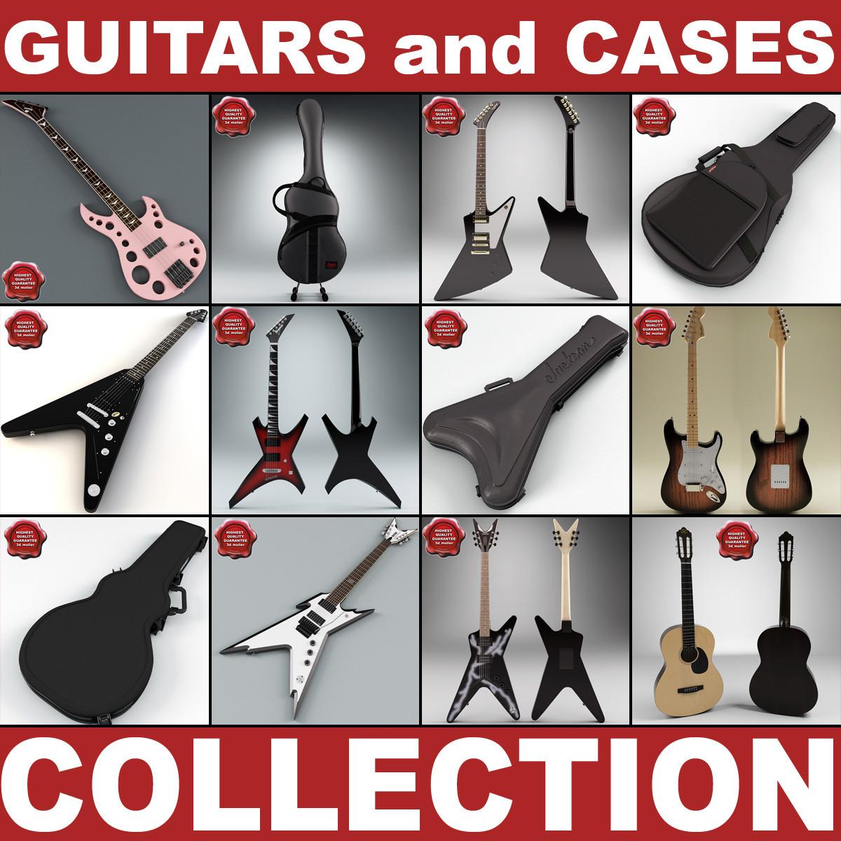 guitars cases v2 3d 3ds