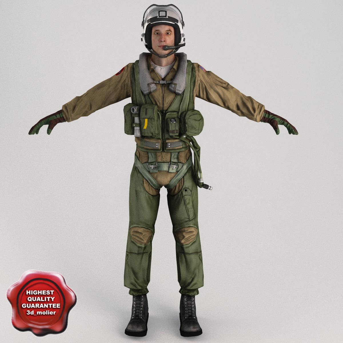 military pilot v2 static 3d model