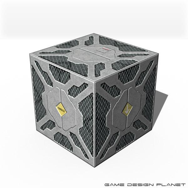 obj science fiction metal box