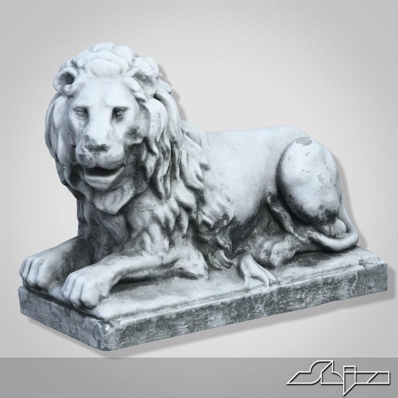stone lion sculpture 3d max