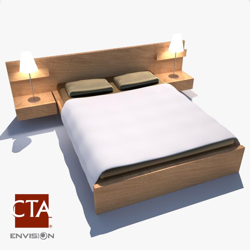 bed frame lamps 3d model