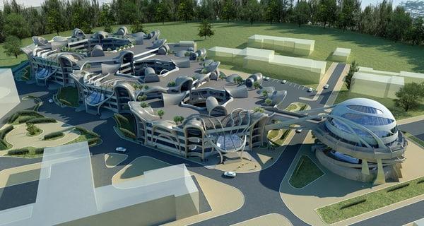 3d architecture buildings futuristic complex