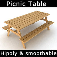 3d picnic table attached benches model