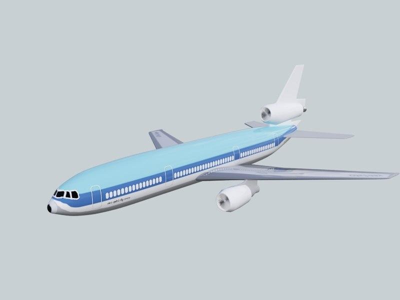 douglas dc-10 plane 3d max