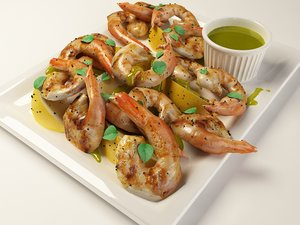 3d model grilled mediterranean shrimp