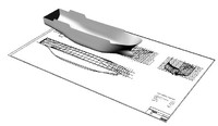 3d stern trawler hull plan model
