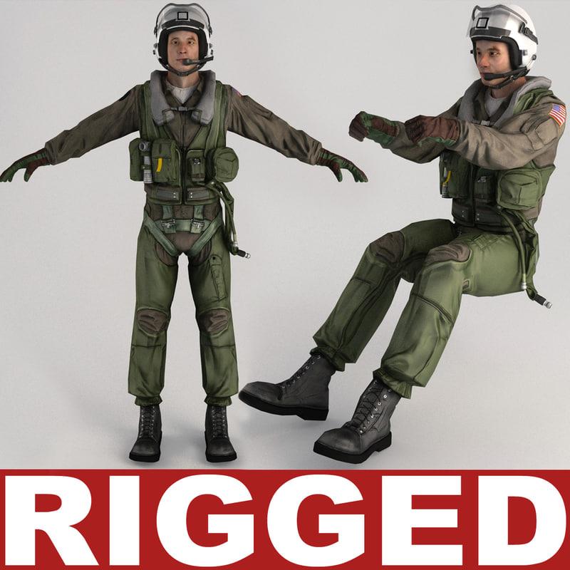 3d model military pilot v3 rigged
